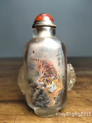 3.6 China Antique Backflow Glass Inside Painted Tiger Snuff Bottle