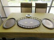 Brass Butler Tray, 2 Brass Serving Trays And A Pewter Bowl