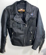 Harley Davidson Leather Jacket Fringe Made In Usa Womenandrsquos Size Small Patch Euc