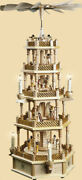 Pyramid Nativity 4 Levels Electric 29 1/2in New Table Pyramid Erzgebirge