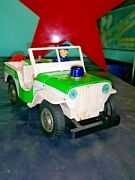 Vintage Police Patrol Jeep Japan Modern Toys Trade Mark Tin Toy Battery Operated