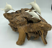 John Perry Sculpture 3 Dolphins Family Large Burl Wood Father's Day Gift