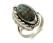 Navajo Ring .925 Silver Blue Diamond Turquoise Signed Artist Apache C.80and039s