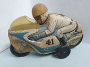 Motorcycle Racer Battery Operated Vintage Tin Modern Tm Toys Japan 1960's