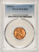 1931-s Lincoln Cent Pcgs Ms64rd Red With Spots Bul5