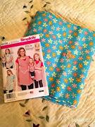 Simplicity 8038 Uncut Apron Pattern And Turquoise Floral Petals Fabric Lot New