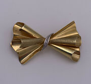 Vintage Fb Franz Breuning 14k Yellow Gold And Diamond Bow Pin Brooch Germany