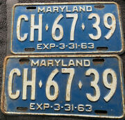 Vintage 1963 Maryland Matching License Plates Ch-6739