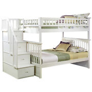 Atlantic Furniture Columbia Staircase Bunk Bed Full Over Full In Walnut 8 White