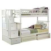 Atlantic Furniture Columbia Staircase Bunk Bed With 2 Raised Panel Bed Drawers