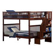 Atlantic Furniture Woodland Staircase Bunk Bed Antique Walnut Full Over Full