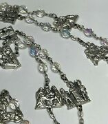 † Huge Vintage Way Of The Cross Stations Clear Ab Rosary Chaplet 46 84 Grs †