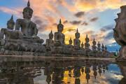 Buddha Statues In Thailand Reflections Photo Art Print Poster 24x36 Inch