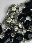 † Htf Antique Rondelle And Sterling Squared Black Glass Rosary 28 1/2 53.51 Grs †