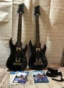 Wii U Guitar Hero Live Bundle With 2 Guitars And 2 Dongle And 2 Straps W/ Box
