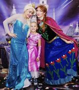 Frozen Cosplay Halloween Costumes, Elsa And Anna/ Adults/ Euc Professional Quality