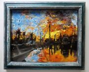 Biscayne Bay At Sunset Oil Painting With Custom Frame Home And Nautical Decor
