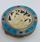 Antique Italian 800 Silver Blue Enamel And Celluloid Scene Of Couple Compact Case