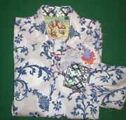 Robert Graham Shirt Mens Xl Flip Cuff Collar Blue White Embroidered Floral