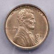 1909-p 1909 Vdb Lincoln Wheat Cent Icg Ms63 Rd