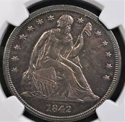 1842 Seated Liberty Dollar Ngc Ms 61 Glassy Reflective Grape And Violet Infused