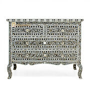 Chest Of 4 Drawers Mother Of Pearl Carved Legs In Black Color Home Decor Furnitu