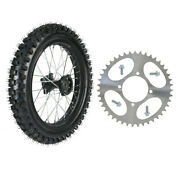 16 Inch 90/100-16 Rear Tire And Wheel + Sprocket For Pitbike Kx100 Crf Ttr Taotao