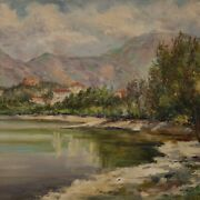 Painting Signed And Dated 1948 Landscape Painting Oil On Board Lacquered Frame