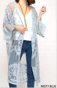 Kimono Sheer Embroidered Lace Long Cardigan Duster Light Blue