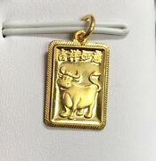 24k Yellow Gold Year 2021 Cow / Ox Pendant Chinese Zodiac Animal Sign 2.7g Small