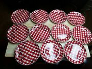Picnic By Pier 1 Appetizer Snack Plates Set Of 11 Red White Plaid Ants 6 1/2