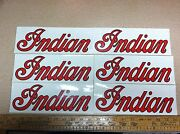 Lot Of 6 Vintage Indian Motorcycles Decals. 3 1/2 X 10 Inches. Nos Stickers