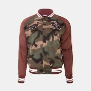 Valentino Souvenir Bomber Jacket In Green Camouflage Rrp Andpound1970