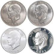 1971 P D S S Eisenhower Dollar Year Set Silver Proof And Bu Us 4 Coin Lot