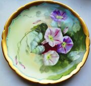 1903-1905 Pickard China Hpntd. Morning Glory 8 3/4 Plate Signed George Stahl