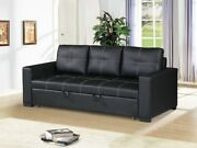 Modern Living Room Guest Convertible 3 Seater Sofa Pull Out Bed Black Faux Leath