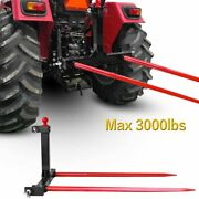 1 Tractors 3 Point Trailer Hitch Quick Attach Bale Spear + 49andrdquo Hay Bale Spear