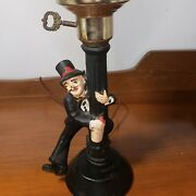 Vintage Charlie Chaplin Bar Lamp - Hand Painted Drunk Leans On Pole - Working