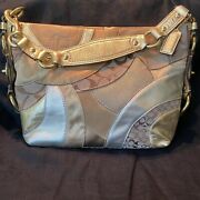 Women's Coach Carly Patchwork Leather Handbag, F14005,gold/tan/bronze, Pre-owned