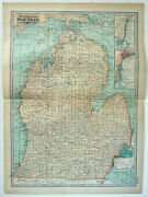 Southern Michigan - Original 1911 Map By The Century Company. Antique
