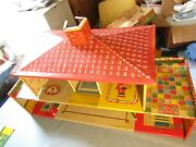 Vintage 1940's Toy Tin Doll House 6 Rooms 32 Long 16 Tall