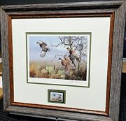 David Maass 1990 Texas Quail Stamp Print And Stamp First Of Series New Frame