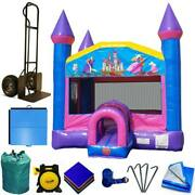 Commercial Inflatable Bounce House Package Backyard Pink Princess Jumping Castle