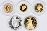 Lot Of 5 Gold-plated St Gaudens Morgan Liberty Indian Stella Tribute Proof Medal
