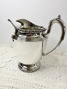 """Vintage Middletown Silver Plated Water Pitcher 7"""" Tall 6"""" Wide With Scroll Edge"""