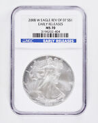 2008-w Silver American Eagle Ngc Ms70 Early Releases Reverse Of 2007 1