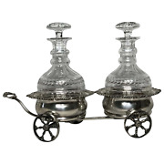 Fine Rare Antique Mappin And Webb Silver Double Carriage Cognac Crystal Decanters