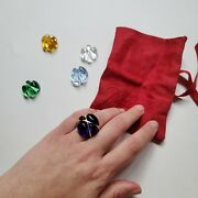 Rare Baccarat Interchangeable Ring With 5 Stones Size 53 18k