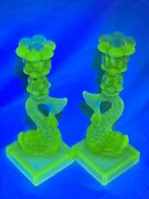 Pair Mma Vaseline Glass Fish Vintage Candlesticks By Imperial Koi Dolphin