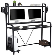 Used Computer Desk With Hutch And Storage Shelves Gaming Table For Bedroom Black